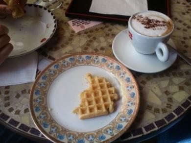 Waffle and cappuchino